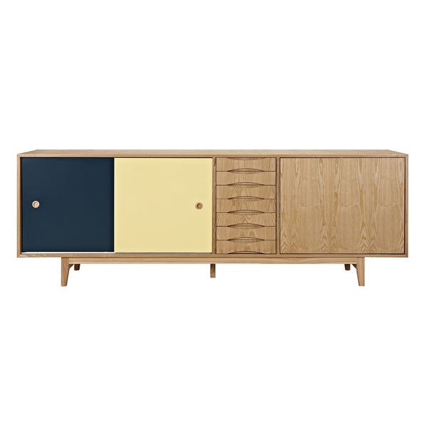 Teal and Yellow Alma Sideboard- Natural