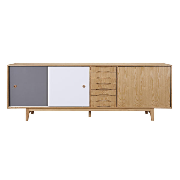 Gray and Blue Alma Sideboard- Natural