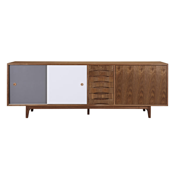 Gray and Blue Alma Sideboard- Walnut