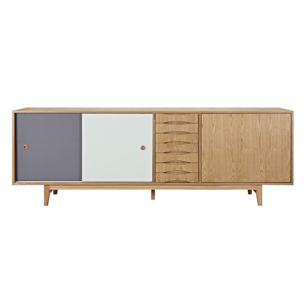 Gray and Mint Alma Sideboard- Natural