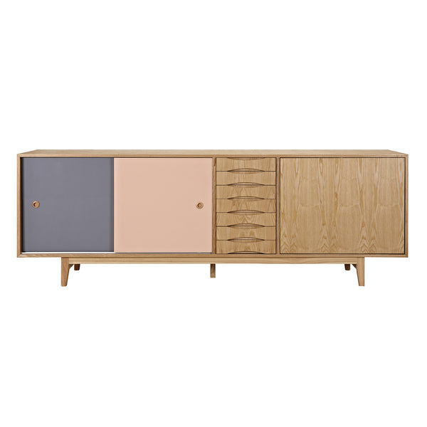 Gray and Peach Alma Sideboard- Natural