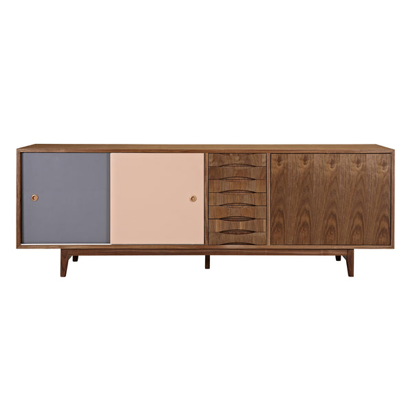 Gray and Peach Alma Sideboard- Walnut