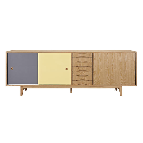 Gray and Yellow Alma Sideboard- Natural