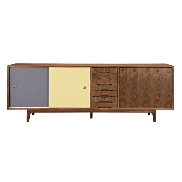 Gray and Yellow Alma Sideboard- Walnut