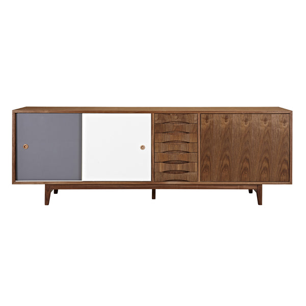 Gray and White Alma Sideboard- Walnut