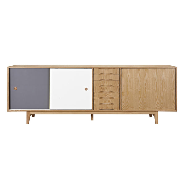 Gray and White Alma Sideboard- Natural