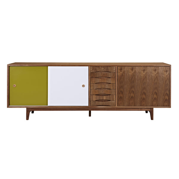 Green and Blue Alma Sideboard- Walnut