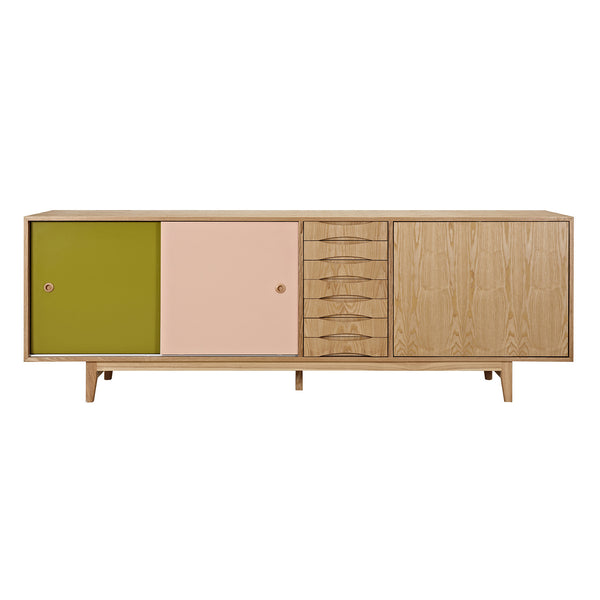 Green and Peach Alma Sideboard- Natural