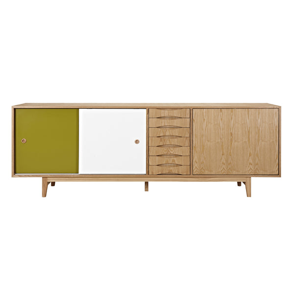 Green and White Alma Sideboard- Natural