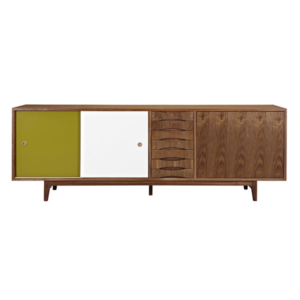 Green and White Alma Sideboard- Walnut