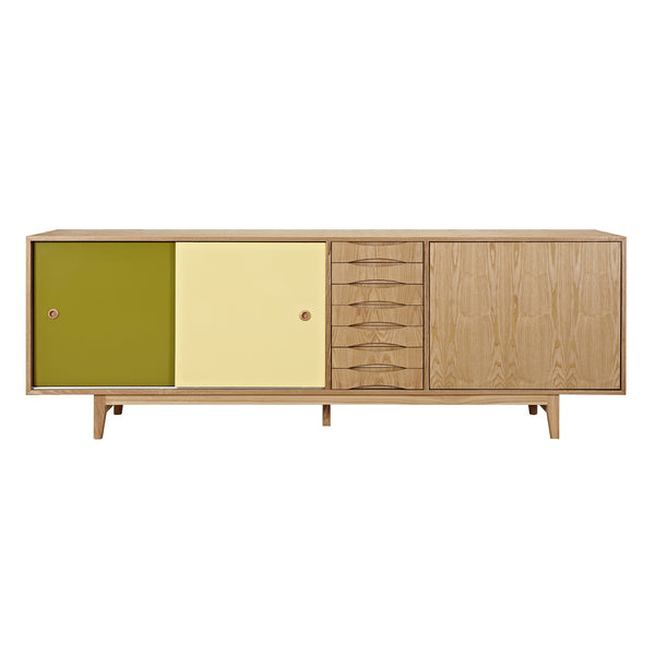 Green and Yellow Alma Sideboard- Natural