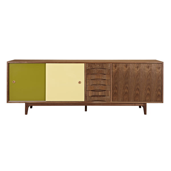 Green and Yellow Alma Sideboard- Walnut