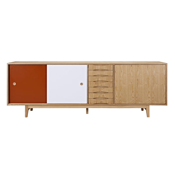 Red and Blue Alma Sideboard- Natural