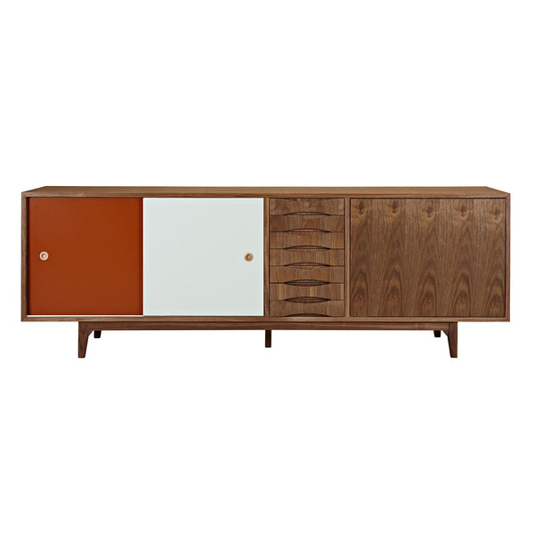 Red and Mint Alma Sideboard- Walnut