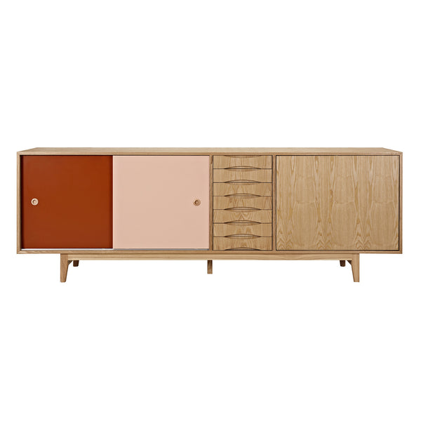 Red and Peach Alma Sideboard- Natural