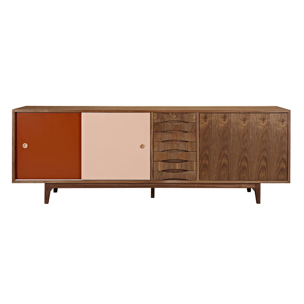 Red and Peach Alma Sideboard- Walnut
