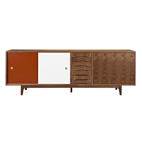 Red and White  Alma Sideboard- Walnut