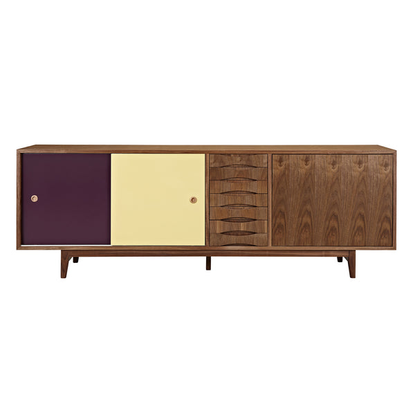 Plum and Yellow Alma Sideboard- Walnut