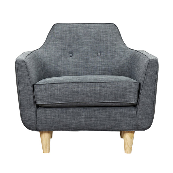 Charcoal Gray Agna Armchair - Natural