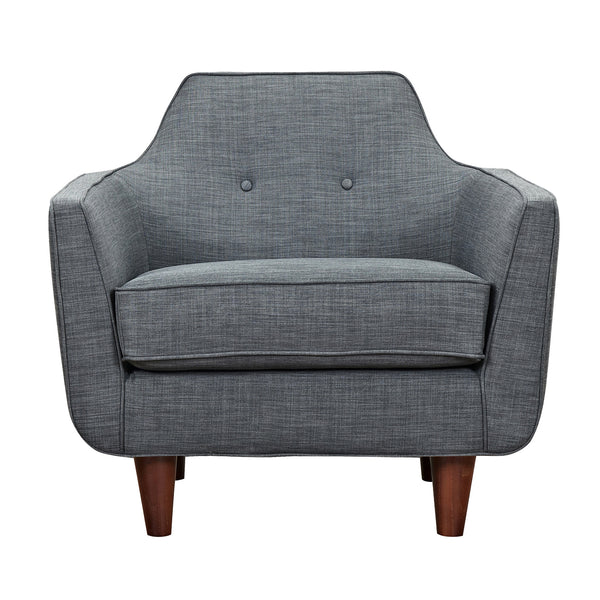Charcoal Gray Agna Armchair - Walnut