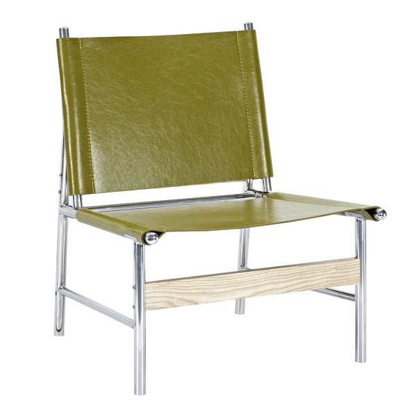 Olive Green Slad Chair - Nickel