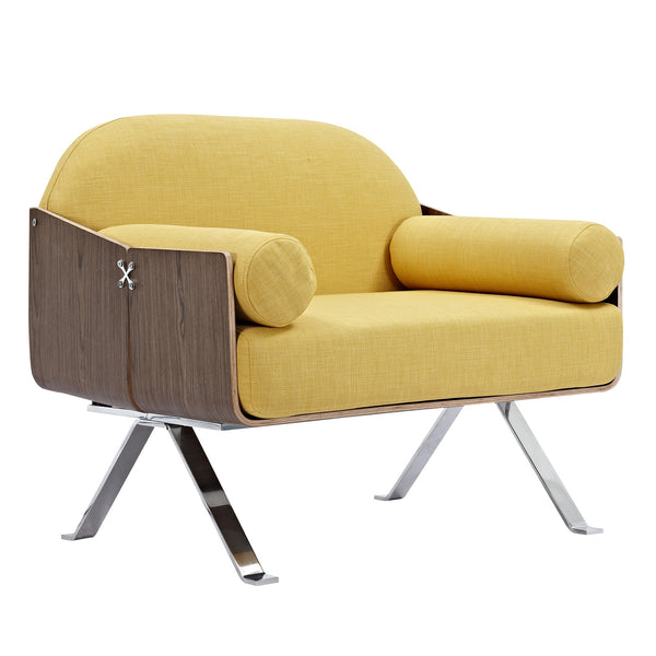 Papaya Yellow Jorn Chair - Walnut