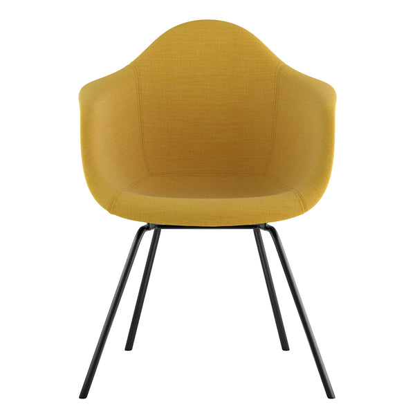 Mid Century Classroom Arm Chair - Papaya YellowGunmetal