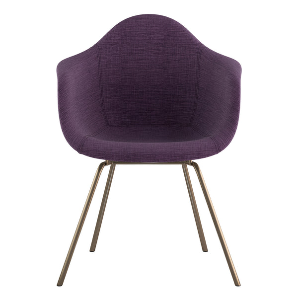 Mid Century Classroom Arm Chair - Plum PurpleBrass