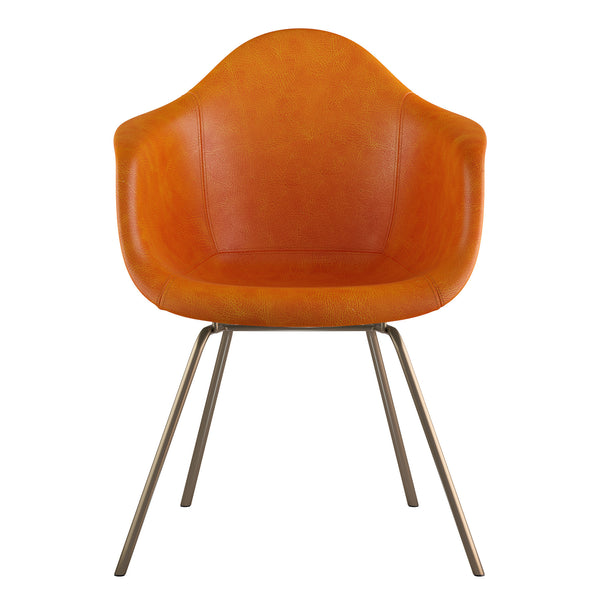 Mid Century Classroom Arm Chair - Burnt OrangeBrass