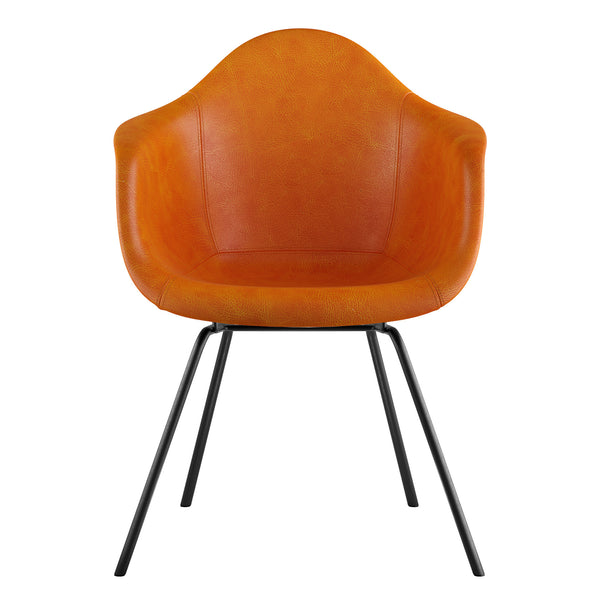 Mid Century Classroom Arm Chair - Burnt OrangeGunmetal
