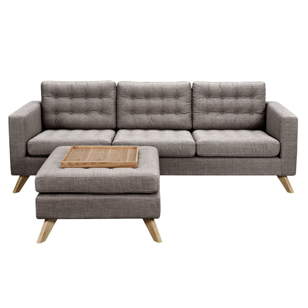 Aluminium Gray Mina Sofa Set - Natural