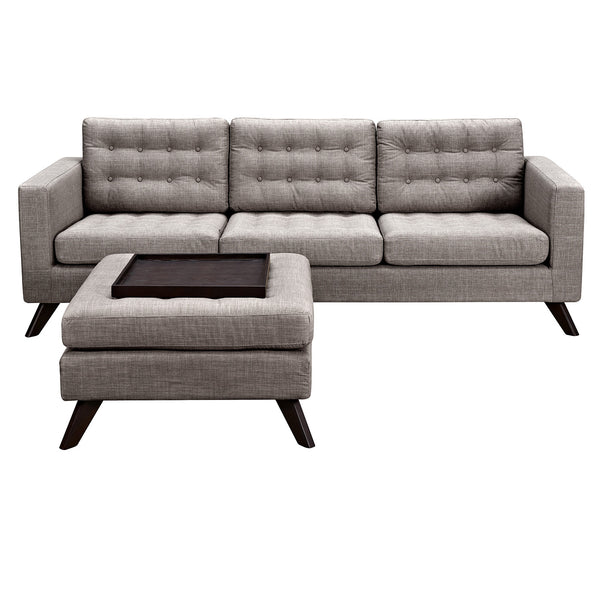 Aluminium Gray Mina Sofa Set - Walnut