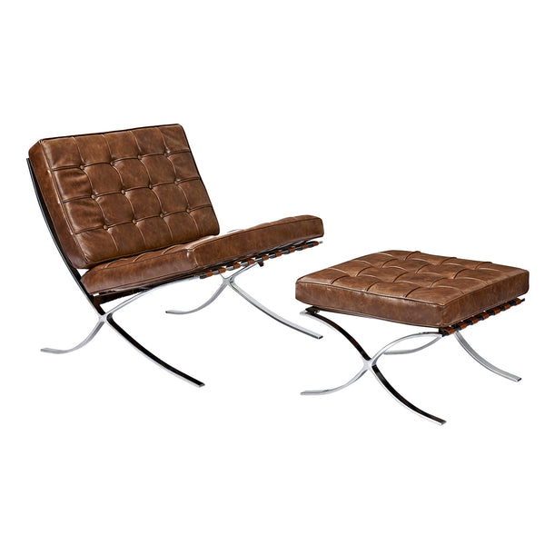 Weathered Whiskey Mies Chair and Ottoman