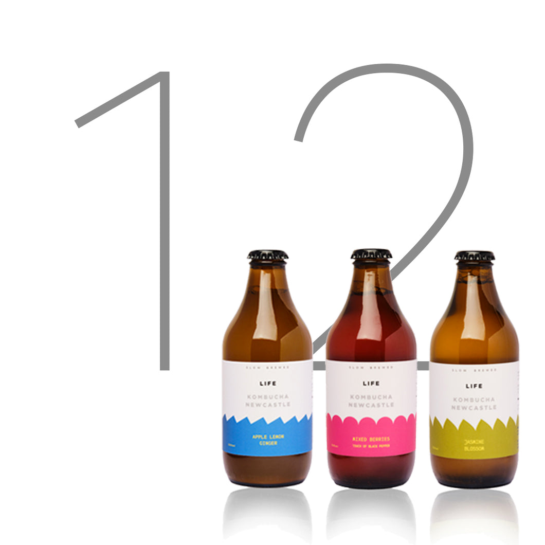 Build Your Own LIFE Kombucha mixed case 3 flavours | 12 x 330ml