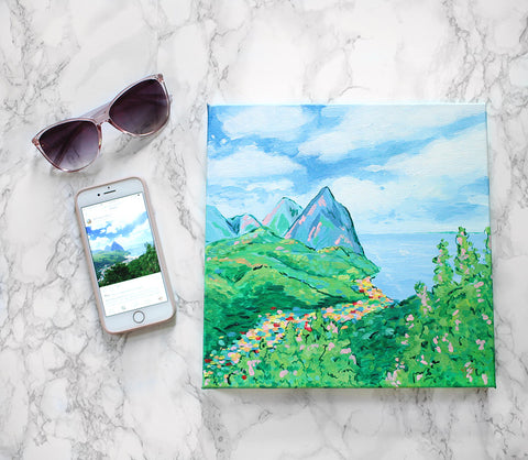 Vacation souvenir painting by Elizabeth Alice Studio, custom art commission gift for someone who likes to travel