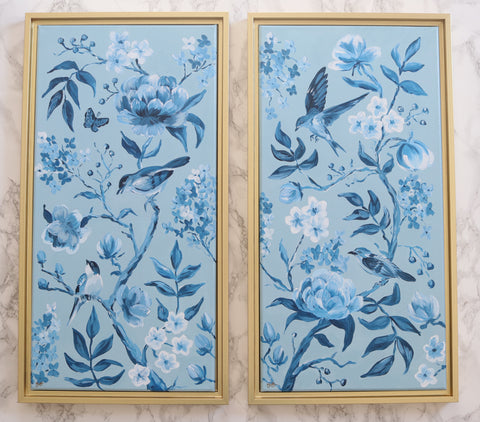Blue chinoiserie panels with birds and flowers, modern chinoiserie decor by Elizabeth Alice Studio