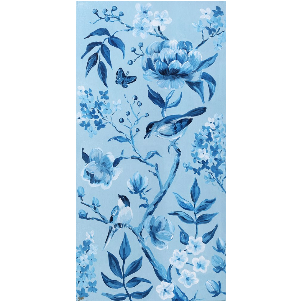 Blue Chinoiserie 1, a fine art print on canvas