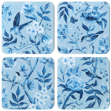 Load image into Gallery viewer, Set of 4 Blue Chinoiserie coasters