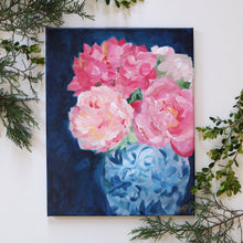 Load image into Gallery viewer, Pink and navy chinoiserie floral - 11 x 14