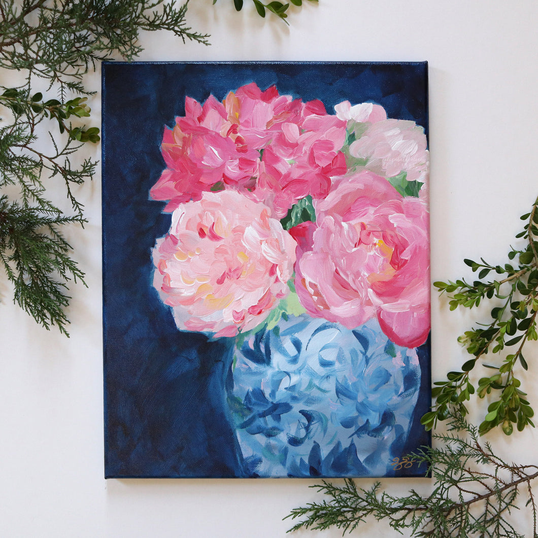 Pink and navy chinoiserie floral - 11 x 14