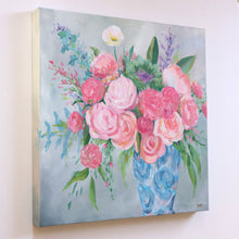 Load image into Gallery viewer, Pink and blue chinoiserie bouquet - 18 x 18