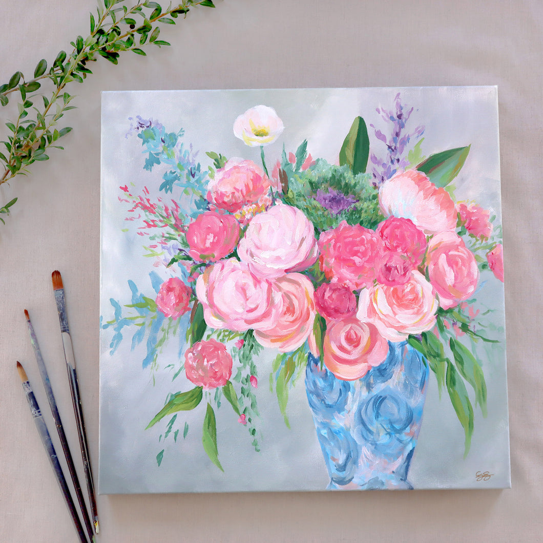 Pink and blue chinoiserie bouquet - 18 x 18