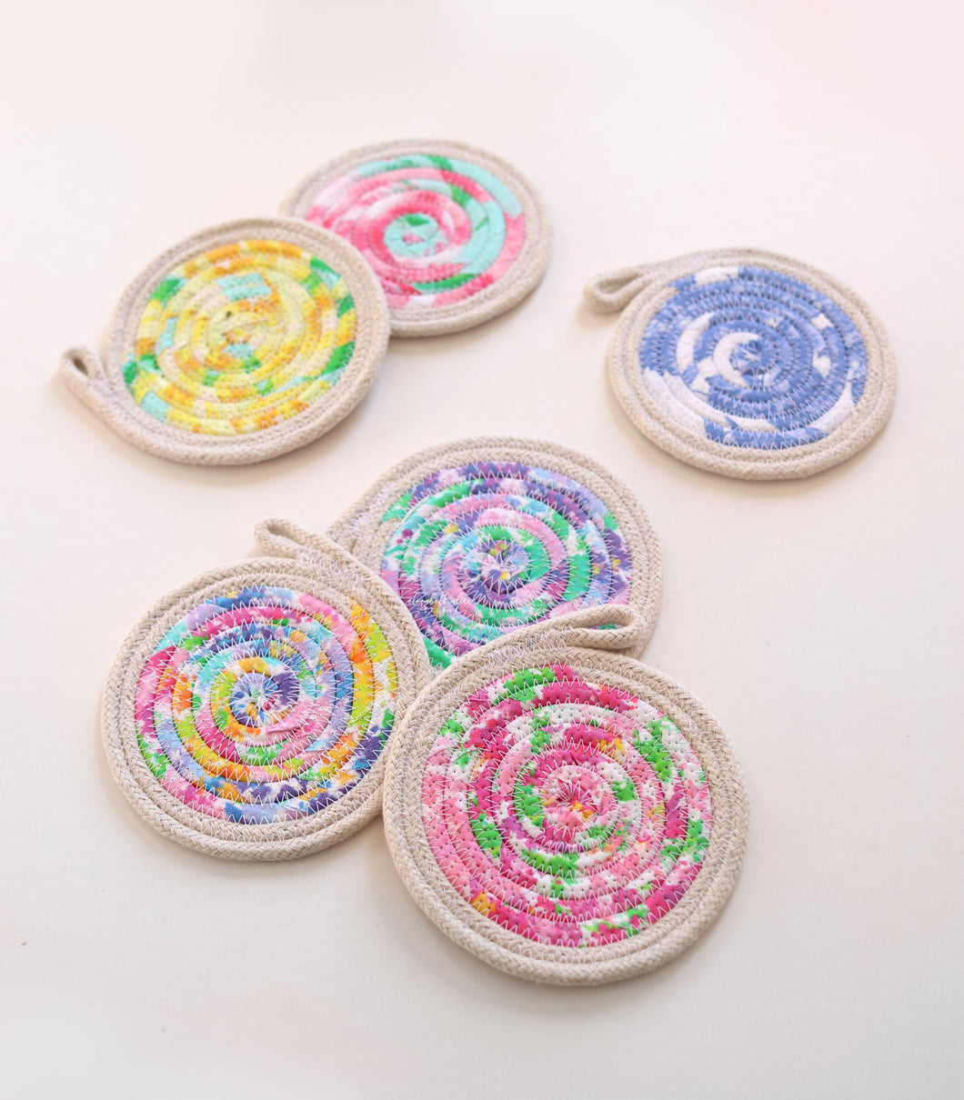 Colorful rope coasters