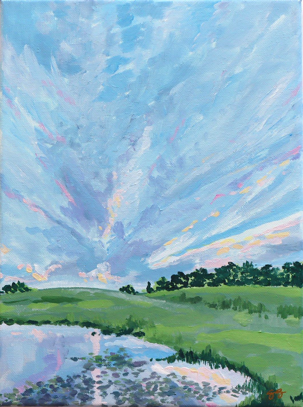 Pleasant Pastures with Lake - 9 x 12