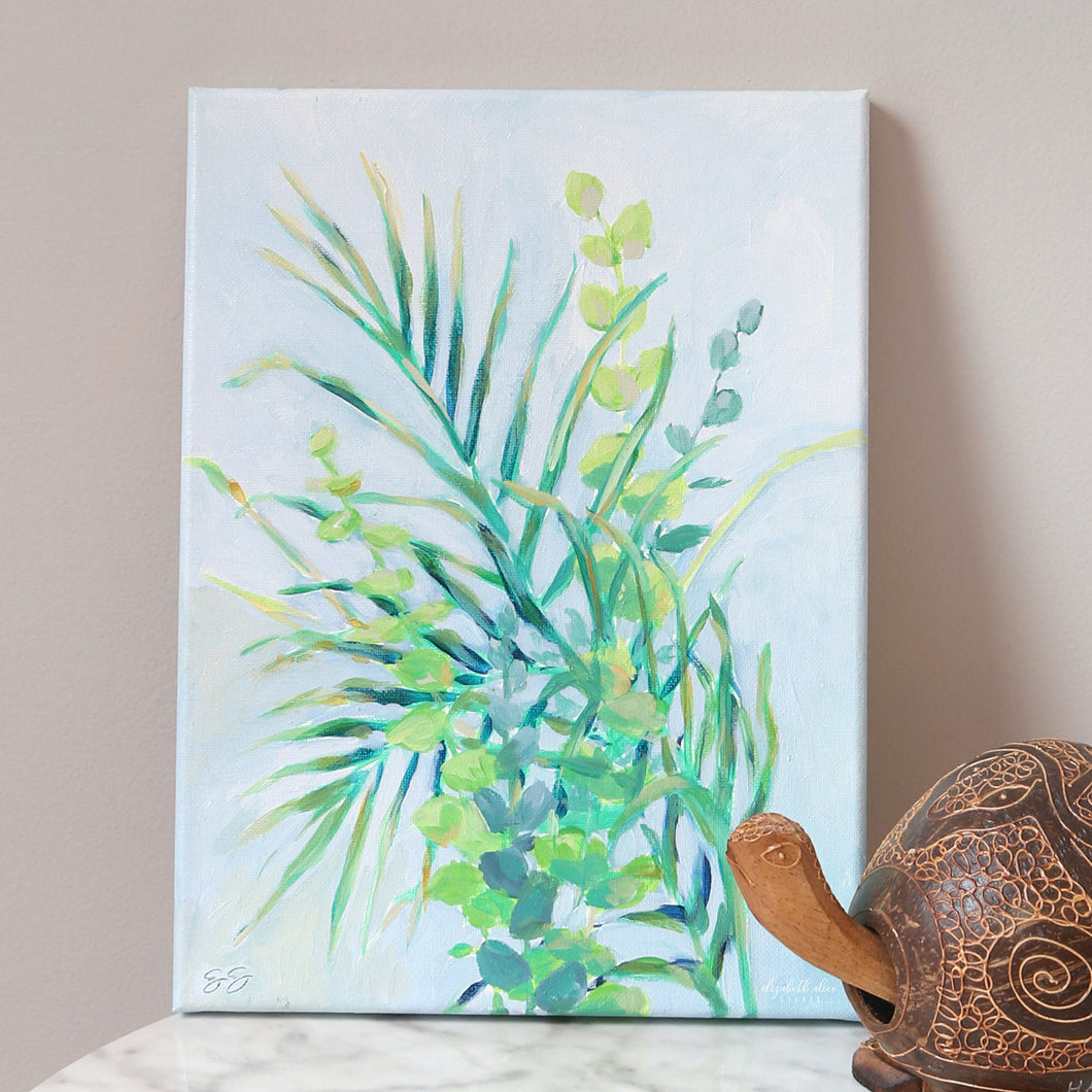 Tropical palm painting by Elizabeth Alice Studio, palm and eucalyptus branches, original acrylic painting, small art painting, coastal art, coastal painting, tropical art, colorful palm painting