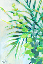 Load image into Gallery viewer, Detail of original painting palm and eucalyptus leaves branches, tropical art detail, acrylic painting of palms, blue and green