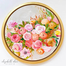Load image into Gallery viewer, Elizabeth Alice Studio art original acrylic painting on wood, circular art, round gold frame, fall color art, orange flowers painting, orange floral bouquet, preppy art, art for transitional decor, acrylic painting