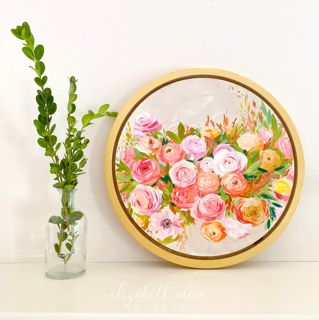 Elizabeth Alice Studio art original acrylic painting on wood, circular art, round gold frame, fall color art, orange flowers painting, orange floral bouquet, preppy art, art for transitional decor