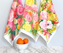 "Load image into Gallery viewer, Floral tea towel, ""September"""