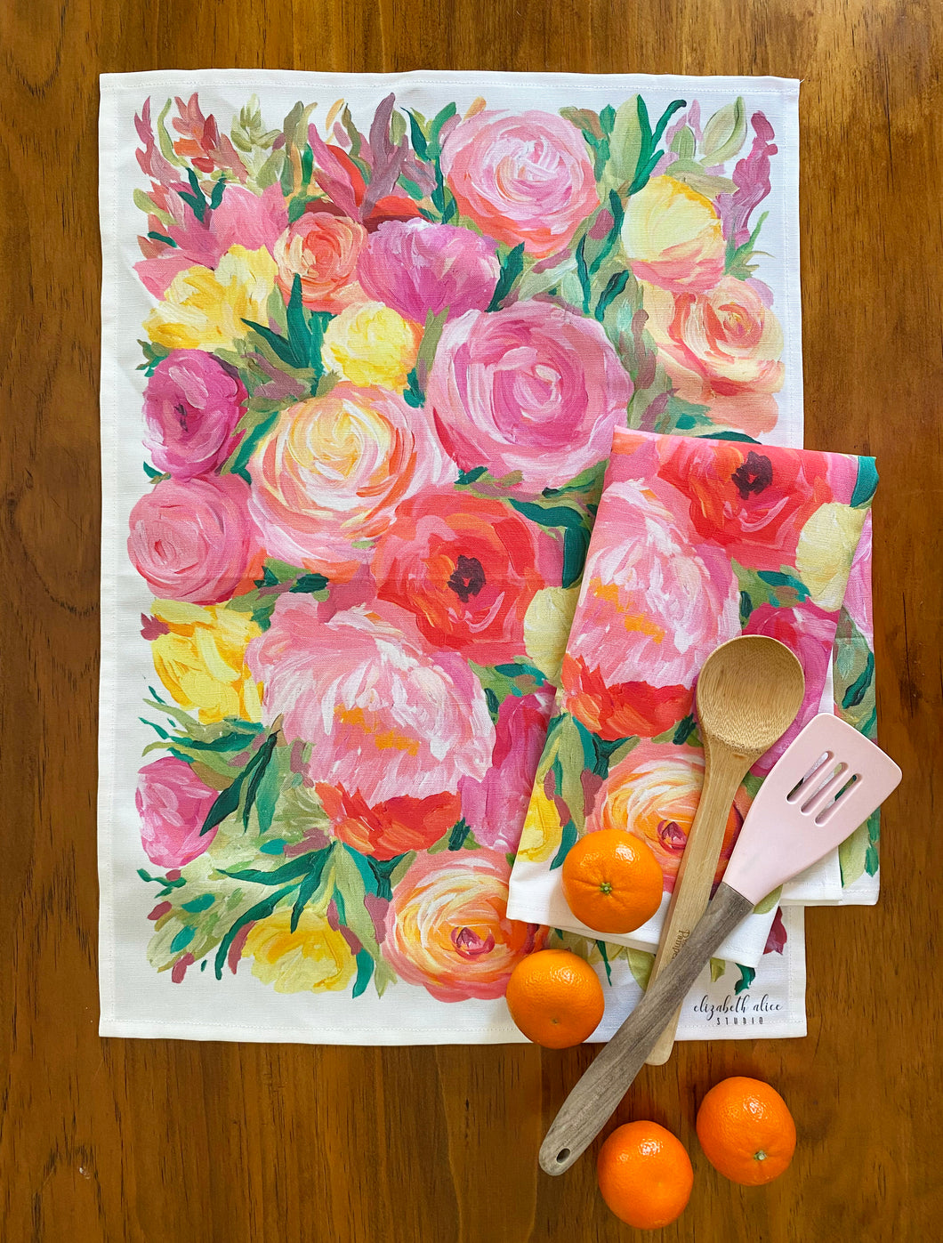 Floral tea towel,